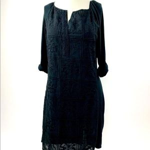 Lucky Brand Black Embroidered Sheath Dress Size L